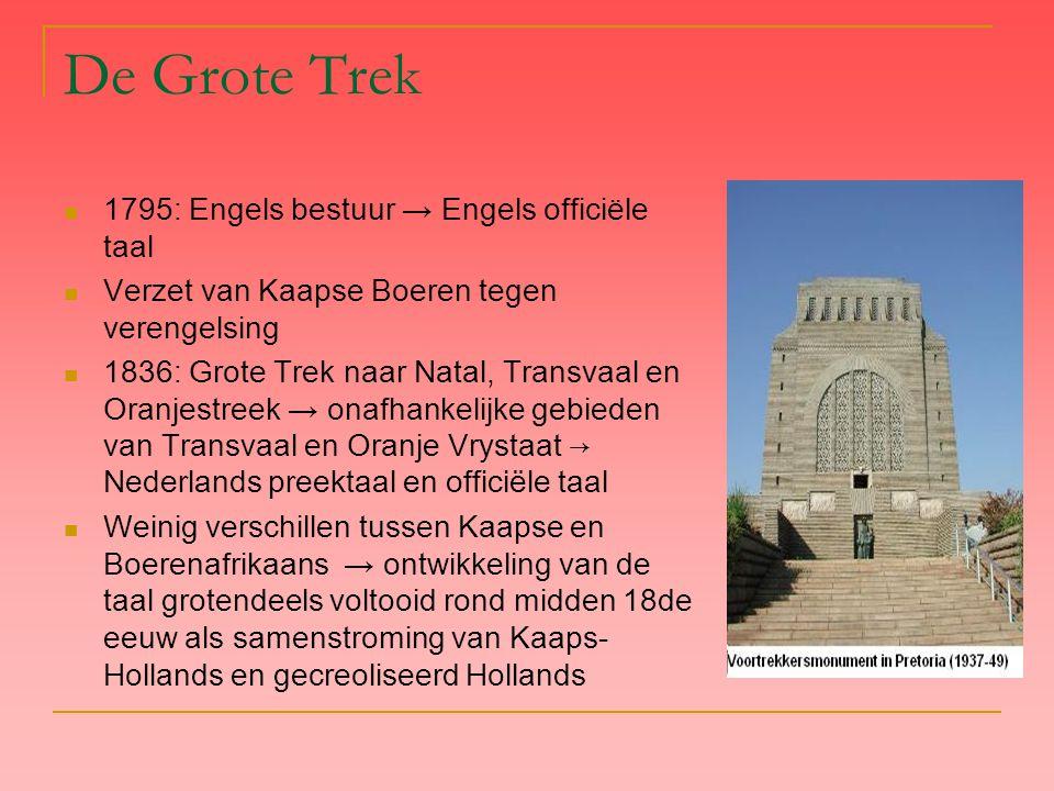 De Grote Trek 1795: Engels bestuur → Engels officiële taal