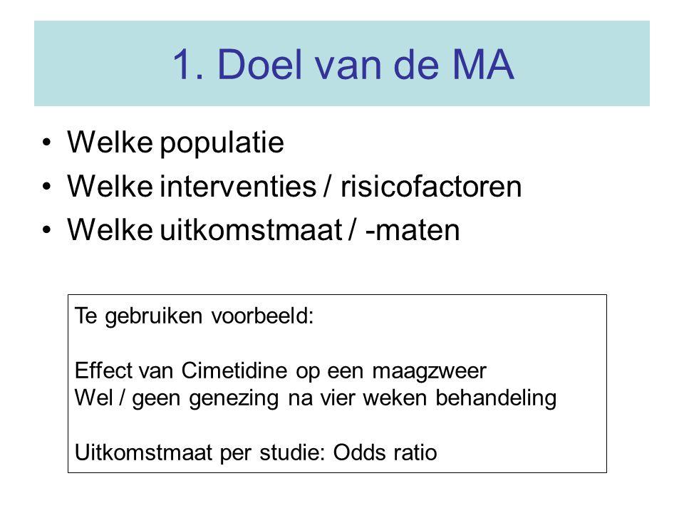 1. Doel van de MA Welke populatie Welke interventies / risicofactoren
