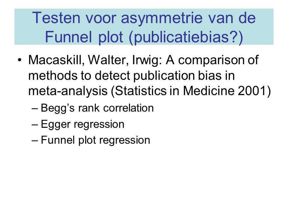 Testen voor asymmetrie van de Funnel plot (publicatiebias )