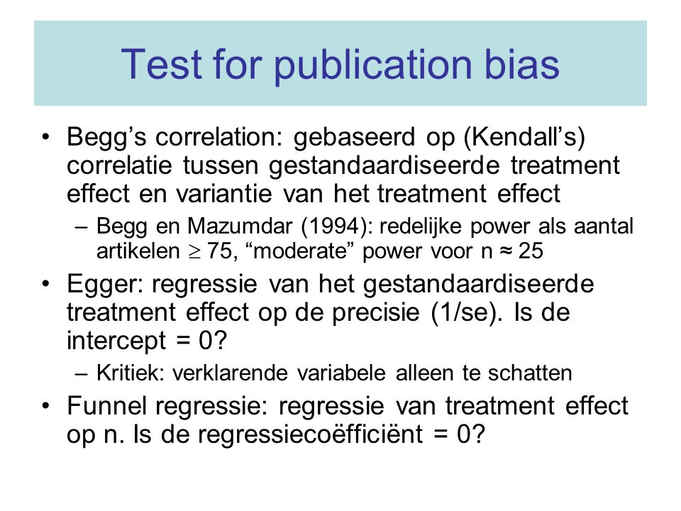 Test for publication bias