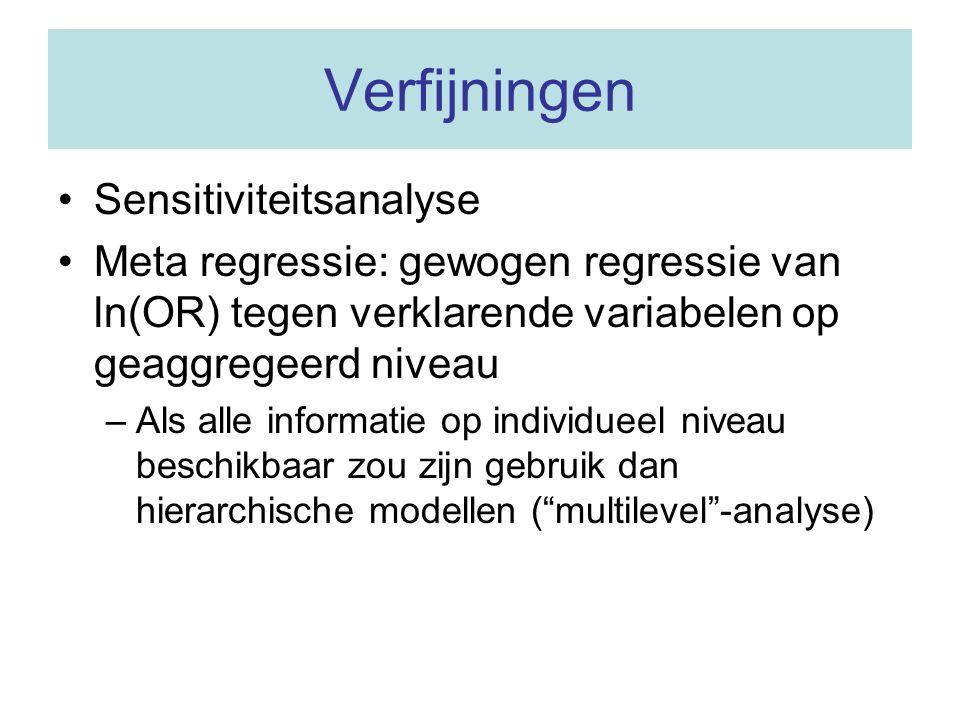 Verfijningen Sensitiviteitsanalyse