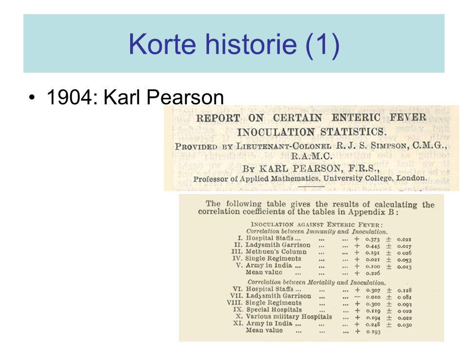 Korte historie (1) 1904: Karl Pearson