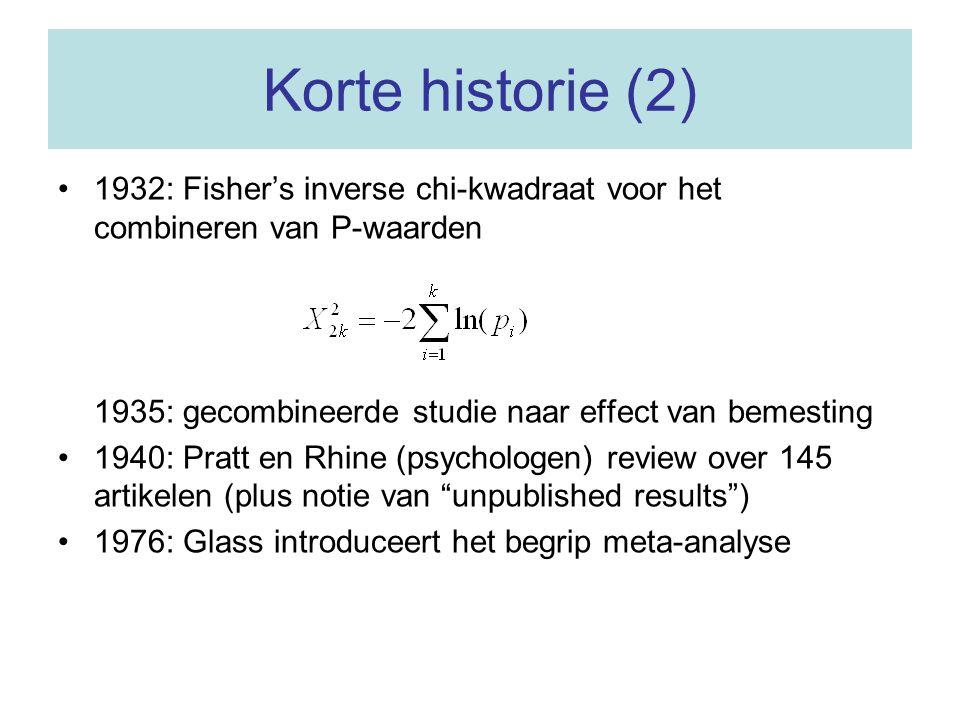 Korte historie (2) 1932: Fisher's inverse chi-kwadraat voor het combineren van P-waarden. 1935: gecombineerde studie naar effect van bemesting.