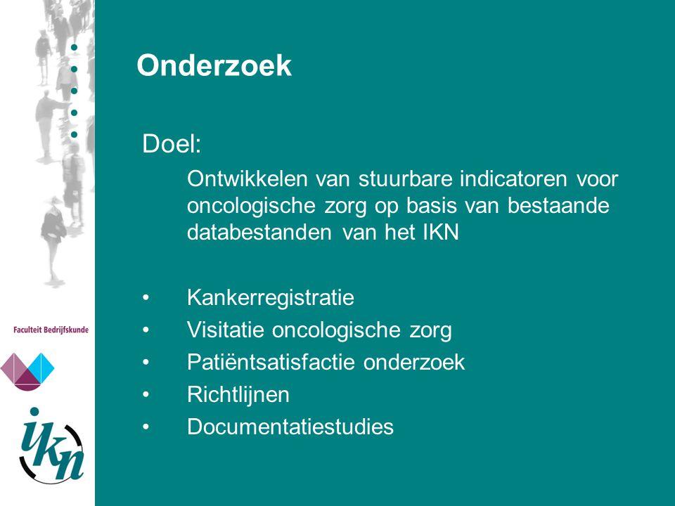 Onderzoek Doel: Ontwikkelen van stuurbare indicatoren voor oncologische zorg op basis van bestaande databestanden van het IKN.