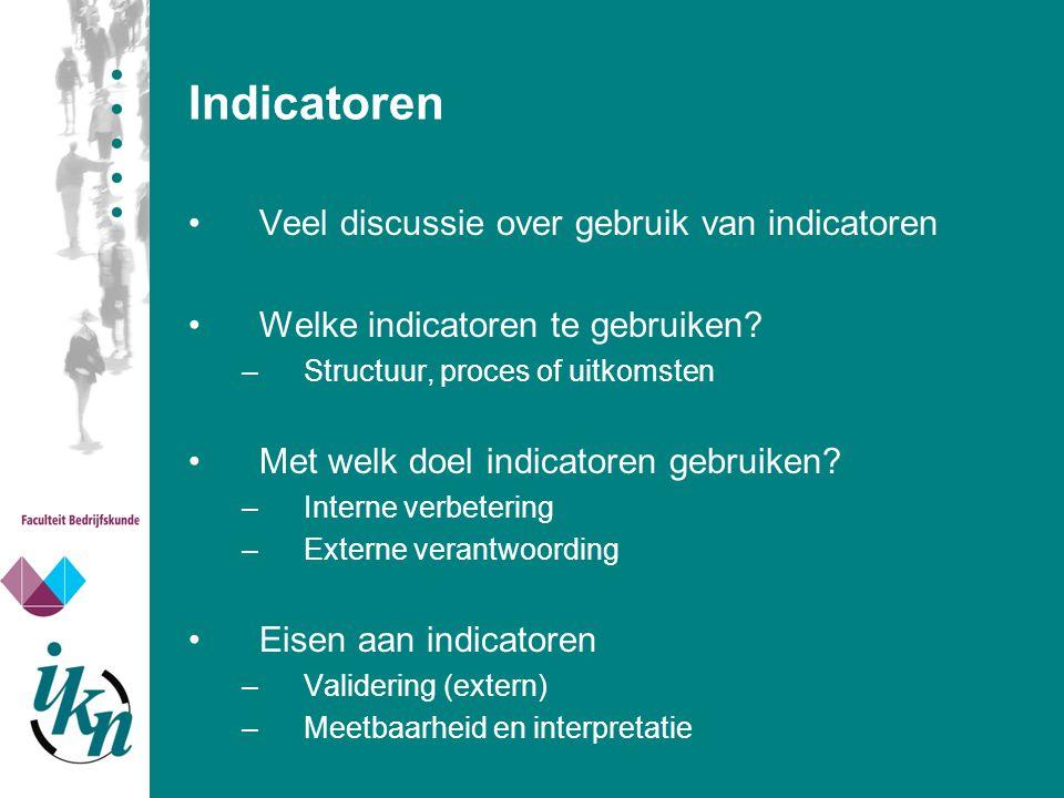 Indicatoren Veel discussie over gebruik van indicatoren