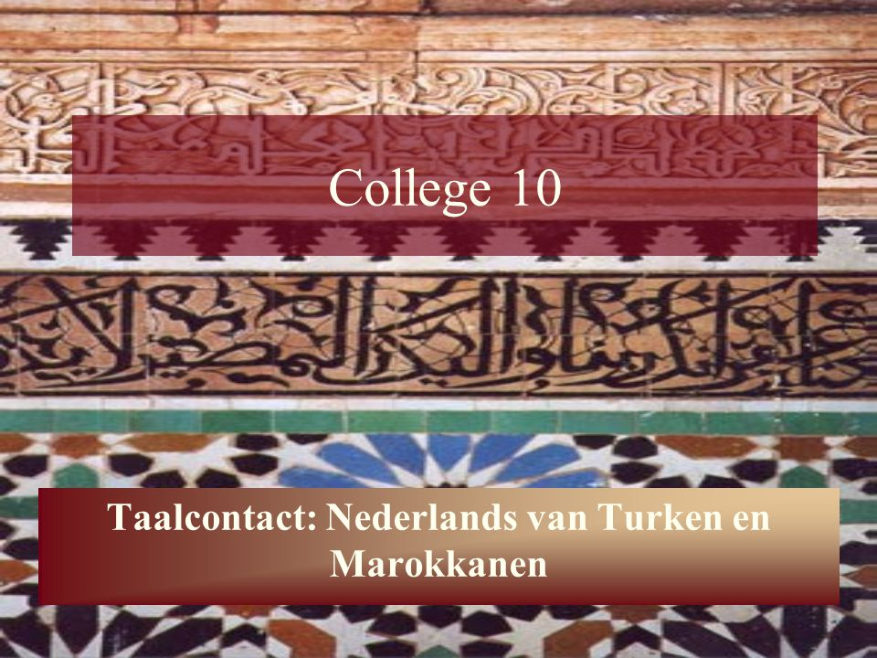 Taalcontact: Nederlands van Turken en Marokkanen