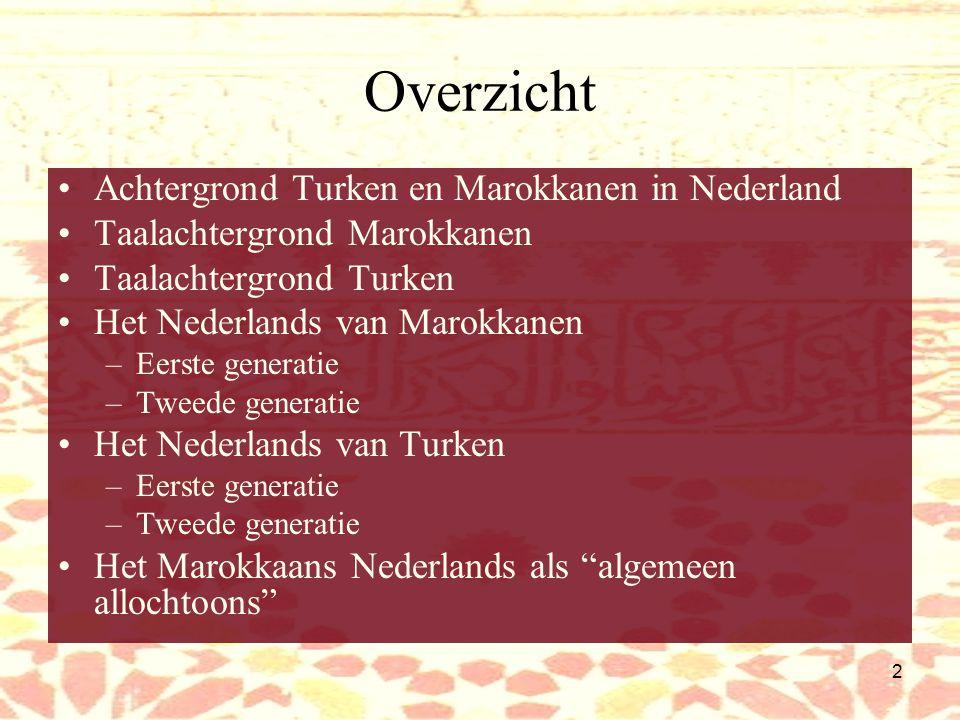 Overzicht Achtergrond Turken en Marokkanen in Nederland