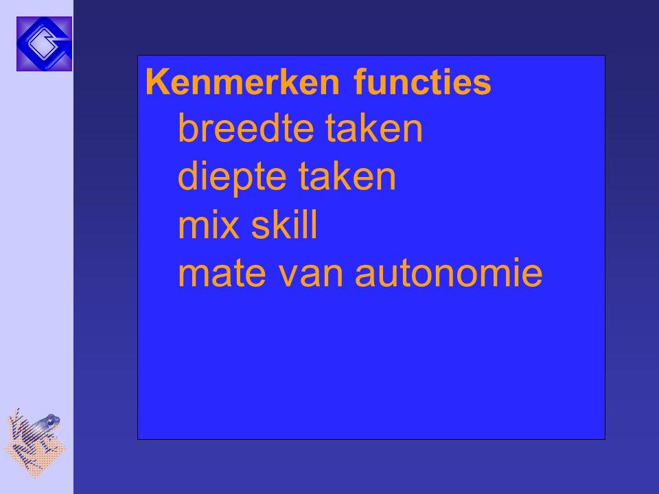 breedte taken diepte taken mix skill mate van autonomie
