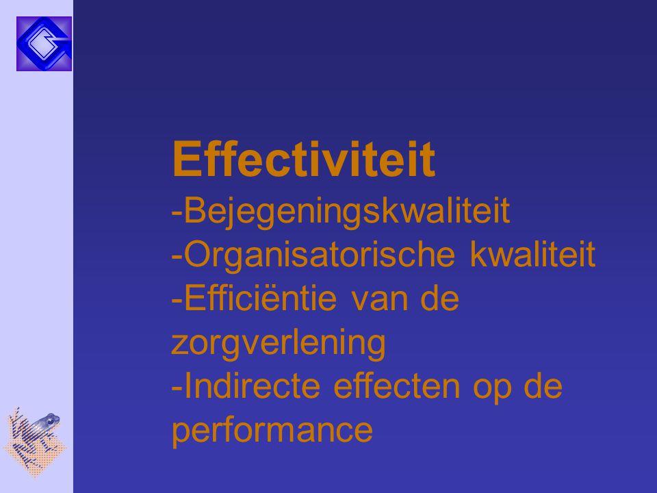 Effectiviteit Bejegeningskwaliteit Organisatorische kwaliteit