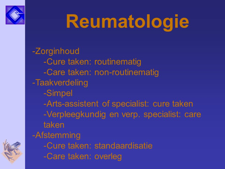 Reumatologie Zorginhoud Cure taken: routinematig