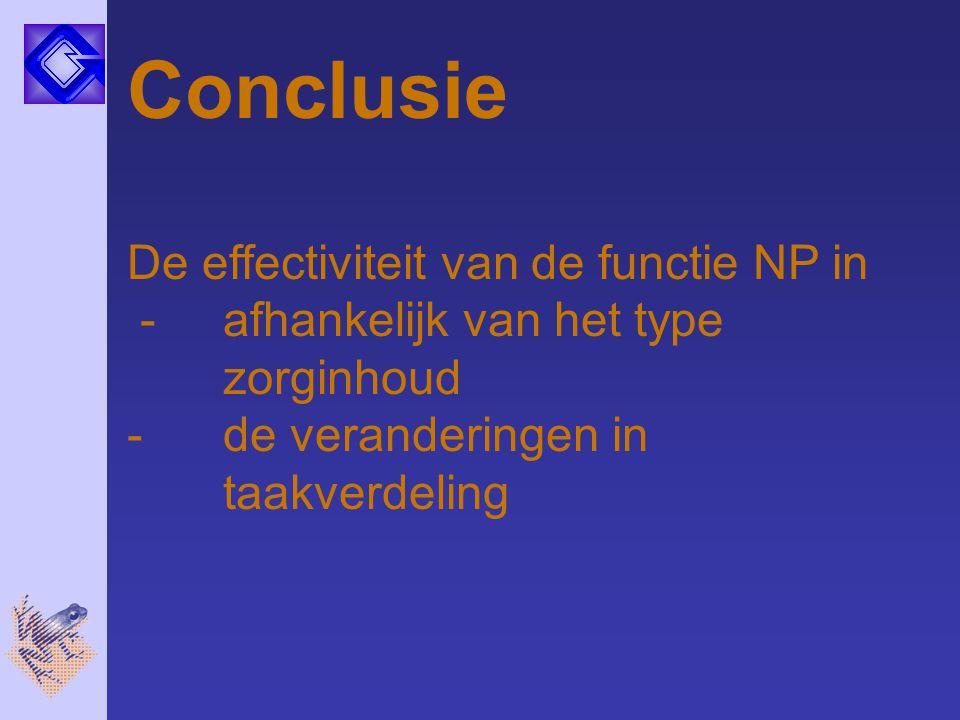 Conclusie De effectiviteit van de functie NP in