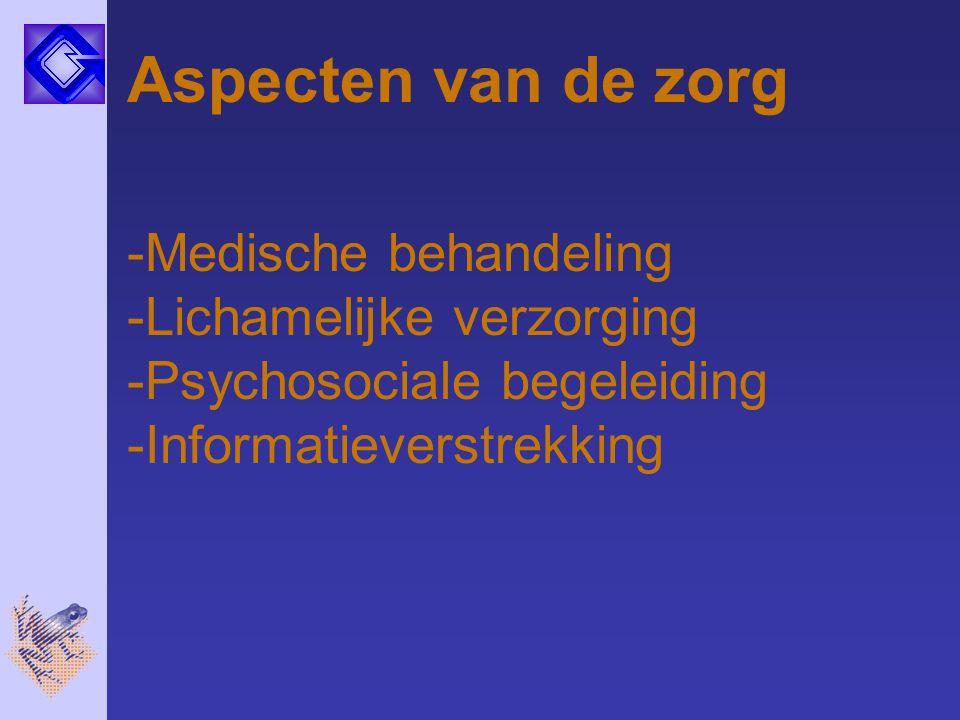 Aspecten van de zorg Medische behandeling Lichamelijke verzorging