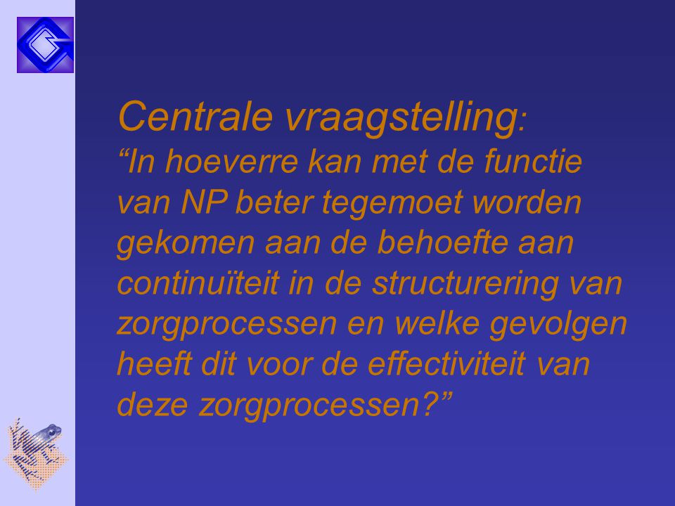 Centrale vraagstelling: