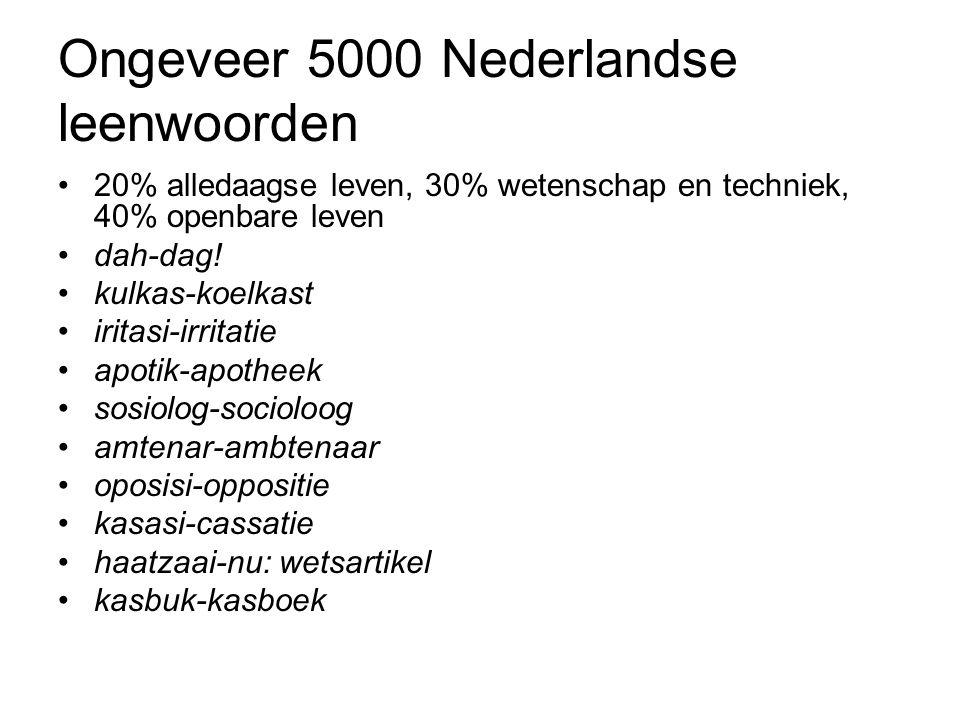 Ongeveer 5000 Nederlandse leenwoorden