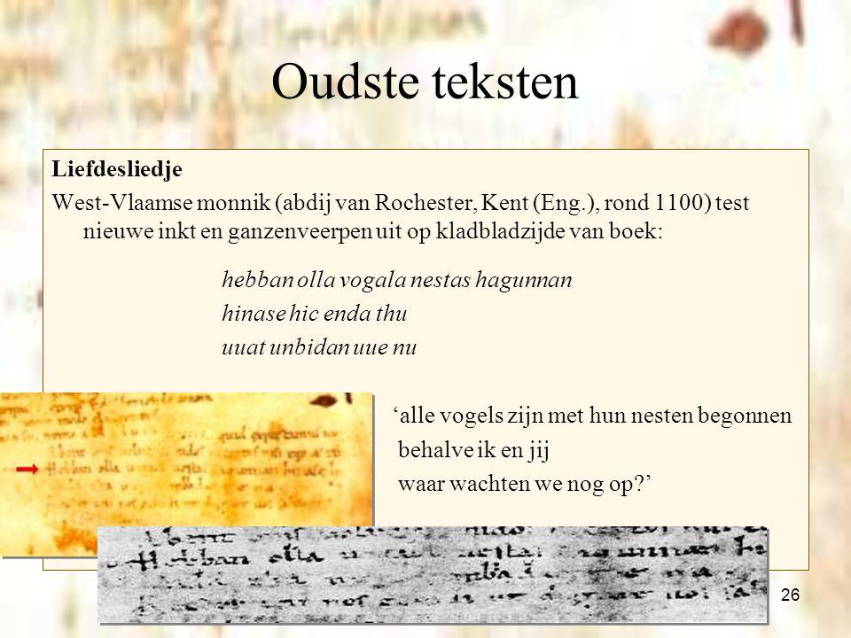 Oudste teksten Liefdesliedje