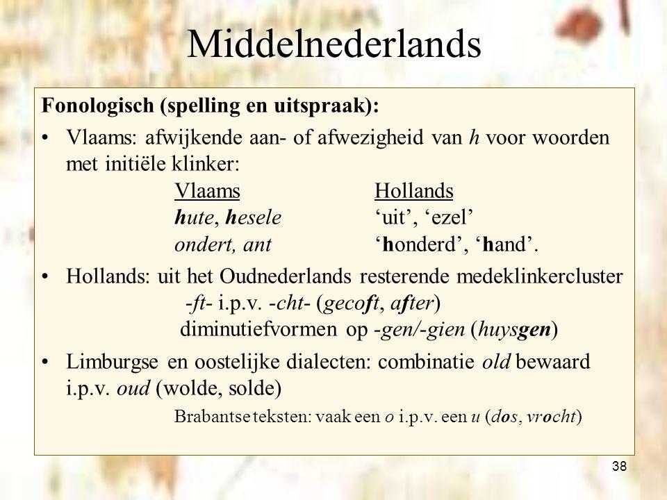 Middelnederlands Fonologisch (spelling en uitspraak):
