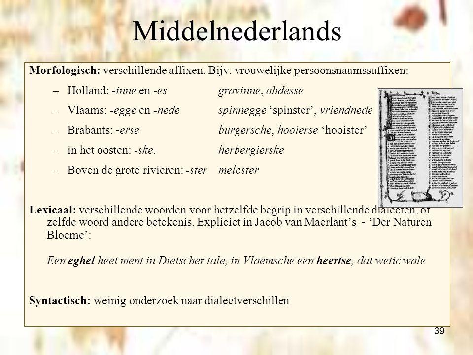 Middelnederlands Morfologisch: verschillende affixen. Bijv. vrouwelijke persoonsnaamssuffixen: Holland: -inne en -es gravinne, abdesse.