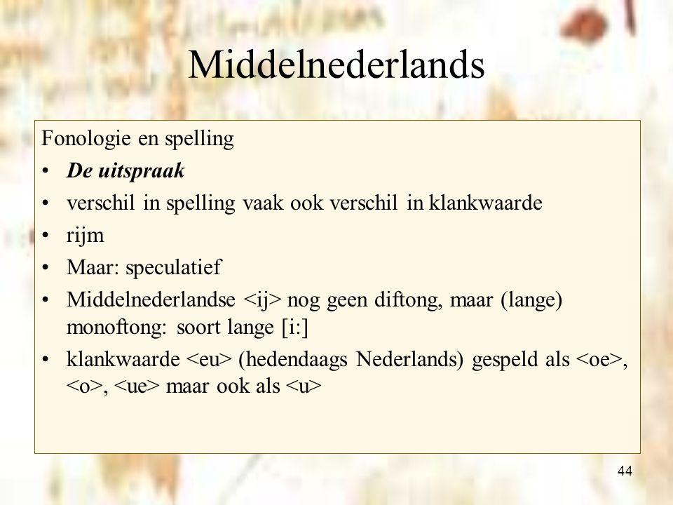 Middelnederlands Fonologie en spelling De uitspraak