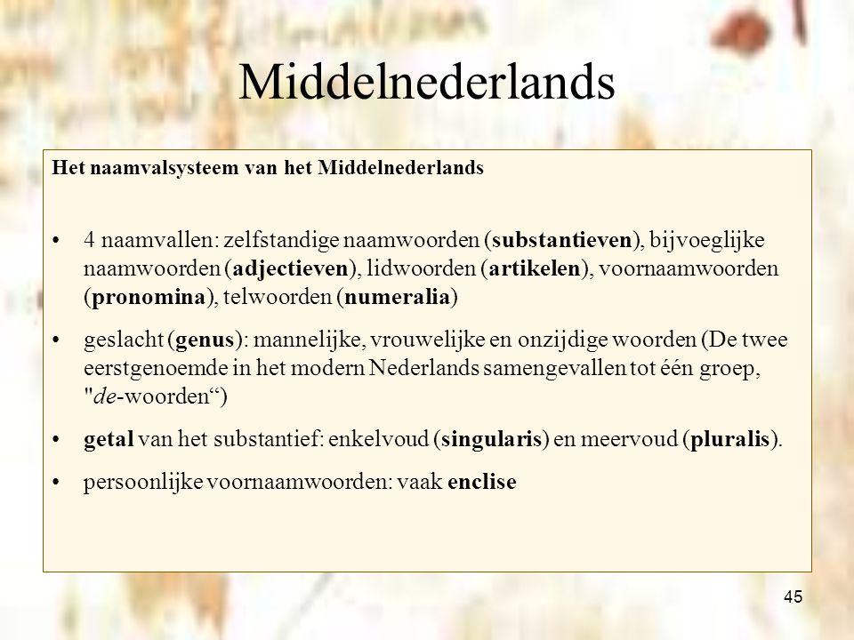 Middelnederlands Het naamvalsysteem van het Middelnederlands