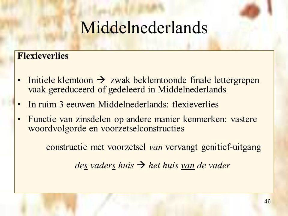 Middelnederlands Flexieverlies