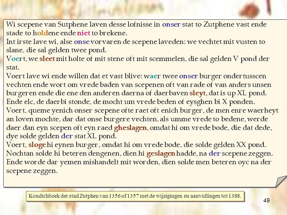Wi scepene van Sutphene laven desse lofnisse in onser stat to Zutphene vast ende stade to holdene ende niet to brekene.