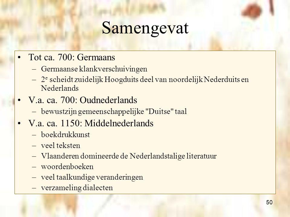 Samengevat Tot ca. 700: Germaans V.a. ca. 700: Oudnederlands