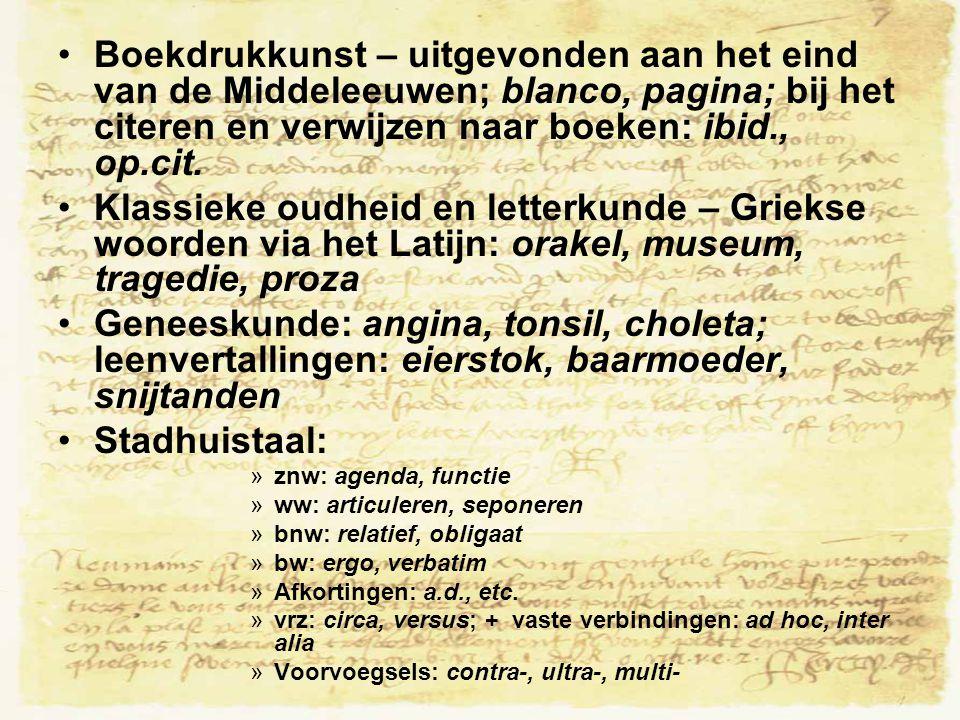 Boekdrukkunst – uitgevonden aan het eind van de Middeleeuwen; blanco, pagina; bij het citeren en verwijzen naar boeken: ibid., op.cit.