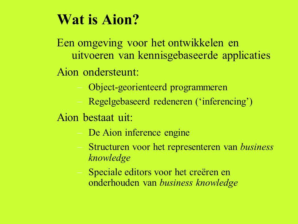 Wat is Aion Een omgeving voor het ontwikkelen en uitvoeren van kennisgebaseerde applicaties. Aion ondersteunt: