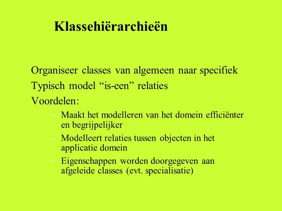 Klassehiërarchieën Organiseer classes van algemeen naar specifiek