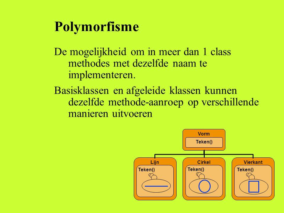 Polymorfisme De mogelijkheid om in meer dan 1 class methodes met dezelfde naam te implementeren.