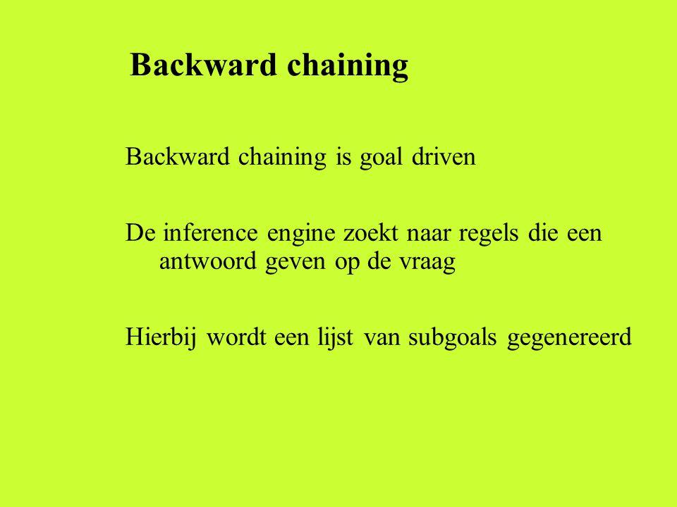 Backward chaining Backward chaining is goal driven