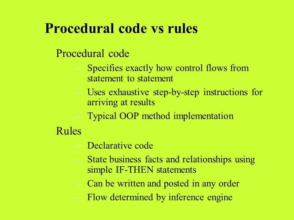 Procedural code vs rules