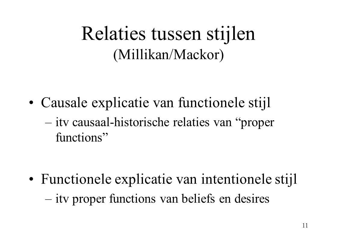 Relaties tussen stijlen (Millikan/Mackor)