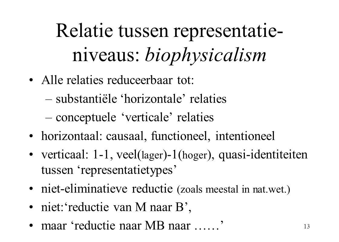 Relatie tussen representatie-niveaus: biophysicalism