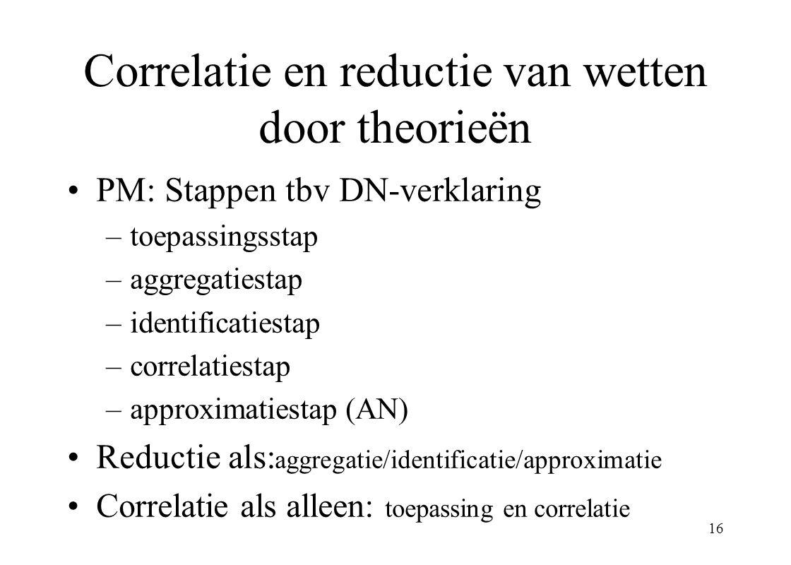 Correlatie en reductie van wetten door theorieën