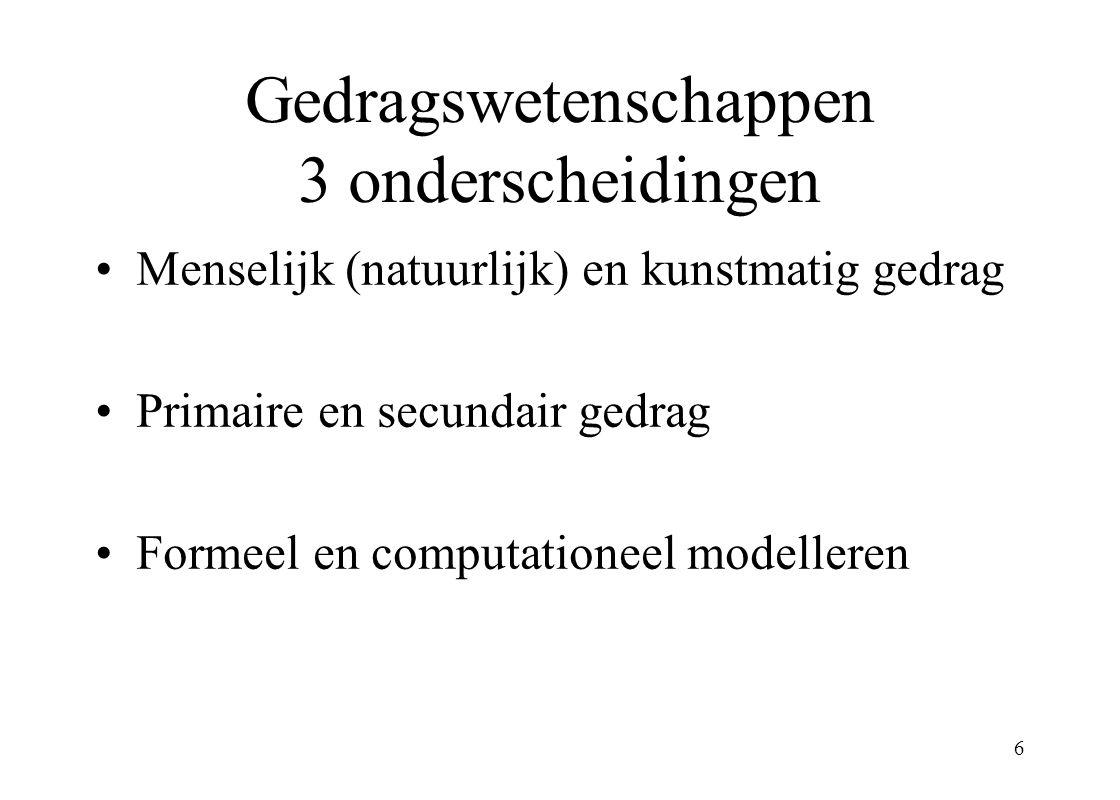 Gedragswetenschappen 3 onderscheidingen