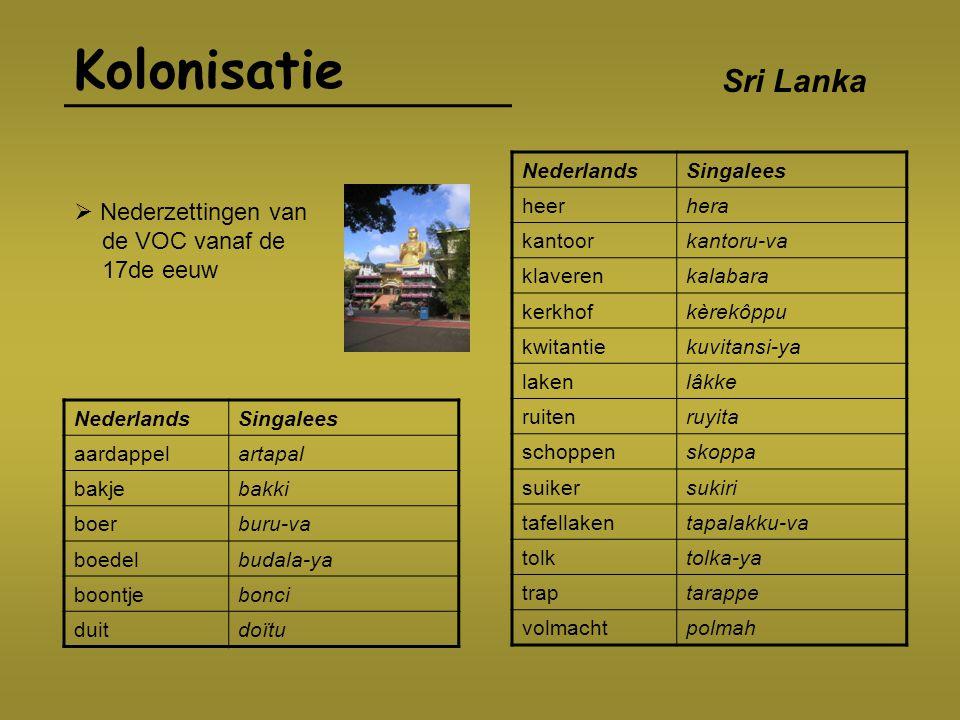Kolonisatie Sri Lanka  Nederzettingen van de VOC vanaf de 17de eeuw