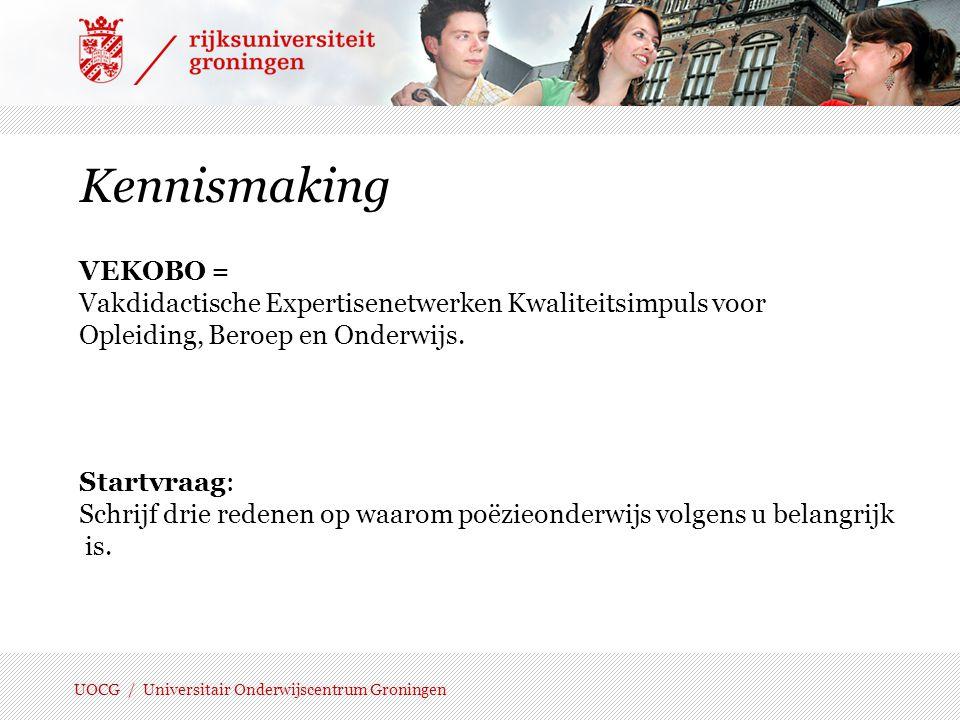 Kennismaking VEKOBO = Vakdidactische Expertisenetwerken Kwaliteitsimpuls voor. Opleiding, Beroep en Onderwijs.