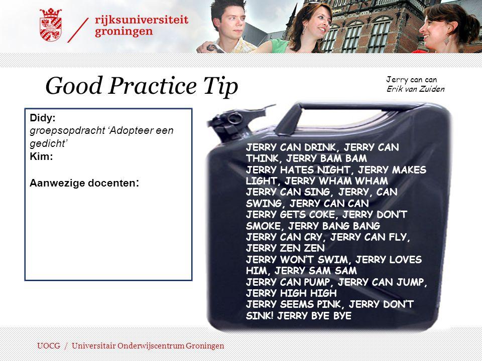 Good Practice Tip Didy: groepsopdracht 'Adopteer een gedicht' Kim: