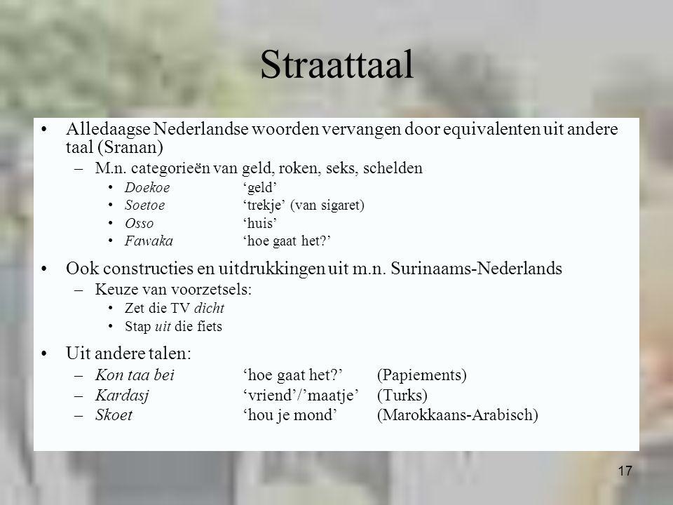 Straattaal Alledaagse Nederlandse woorden vervangen door equivalenten uit andere taal (Sranan) M.n. categorieën van geld, roken, seks, schelden.
