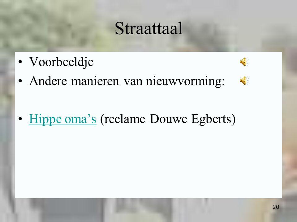 Straattaal Voorbeeldje Andere manieren van nieuwvorming: