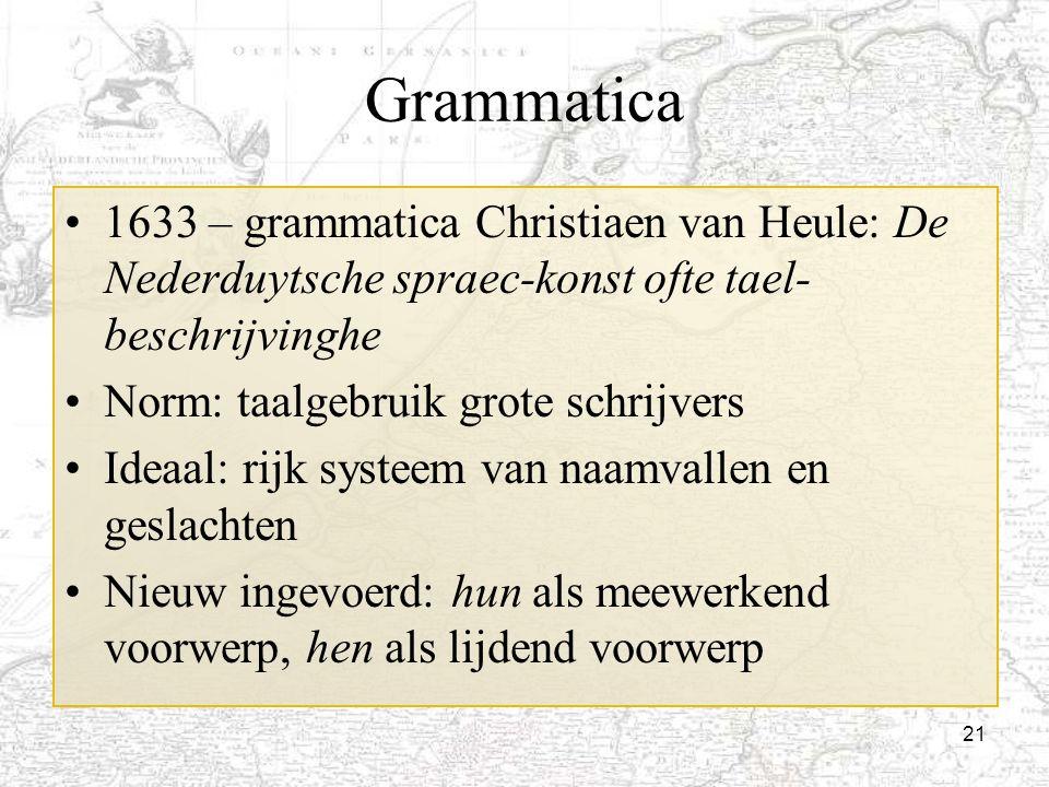 Grammatica 1633 – grammatica Christiaen van Heule: De Nederduytsche spraec-konst ofte tael-beschrijvinghe.