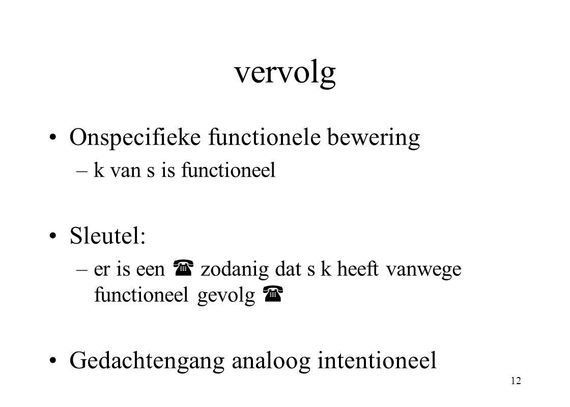 vervolg Onspecifieke functionele bewering Sleutel: