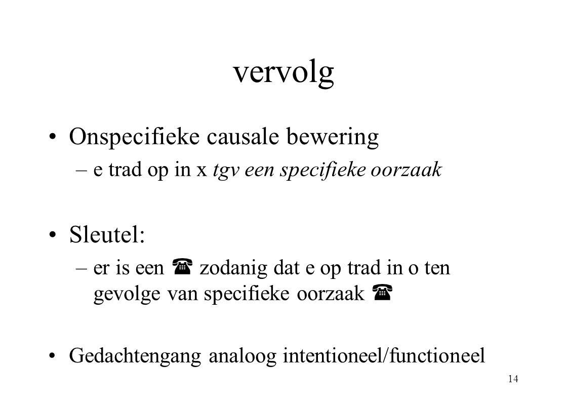 vervolg Onspecifieke causale bewering Sleutel: