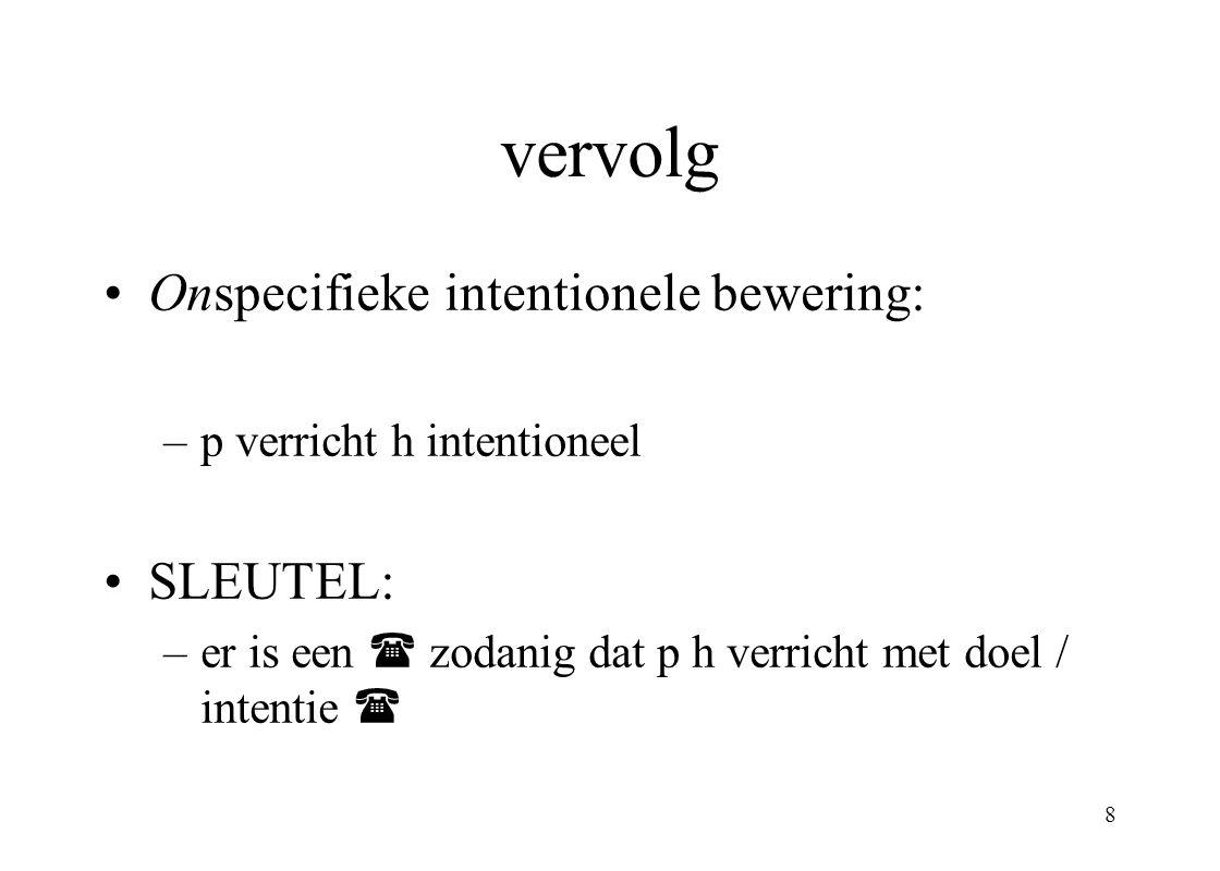 vervolg Onspecifieke intentionele bewering: SLEUTEL: