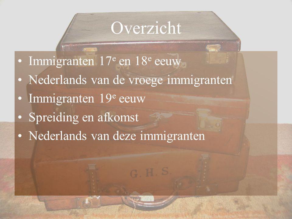 Overzicht Immigranten 17e en 18e eeuw