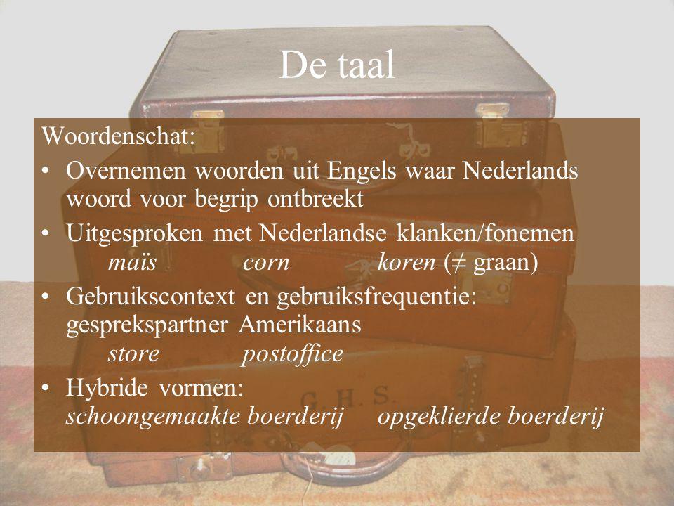De taal Woordenschat: Overnemen woorden uit Engels waar Nederlands woord voor begrip ontbreekt.