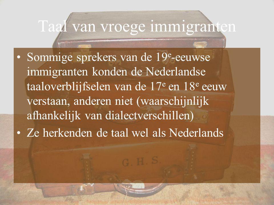 Taal van vroege immigranten