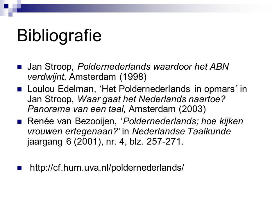 Bibliografie Jan Stroop, Poldernederlands waardoor het ABN verdwijnt, Amsterdam (1998)