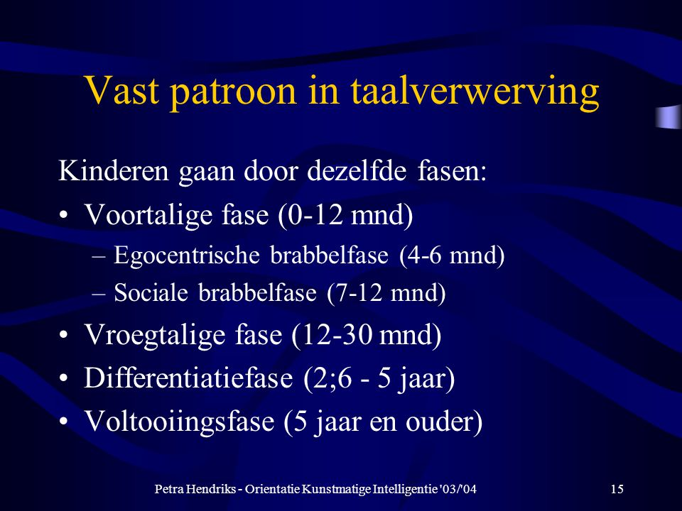 Vast patroon in taalverwerving